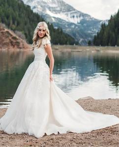 Image 2 - Nieuwe Baljurk Lace Tulle Modest Trouwjurken Met Kapmouwtjes Sweetheart Country Western Bruidsjurken Modest Mouwen