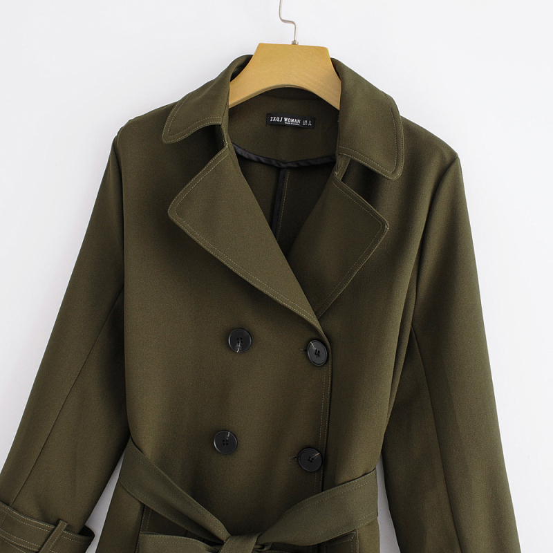 Ladies 2018 Outwear Military Autumn Breasted Slim Mujer Trench Windbreaker Winter Coat Olive Double Green Women Long Cazadora 8pFYqw