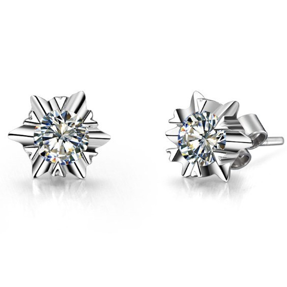 0 6ct Piece Snow Flower Synthetic Diamonds Earrings Stud For Women Fine Silver White Gold Cover Never Fade Or Discolor In From Jewelry