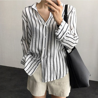 BOBOKATEER Striped Shirt Women Tops Casual Blouses White Shirts Long Sleeve Blouse Top Blusas Mujer De