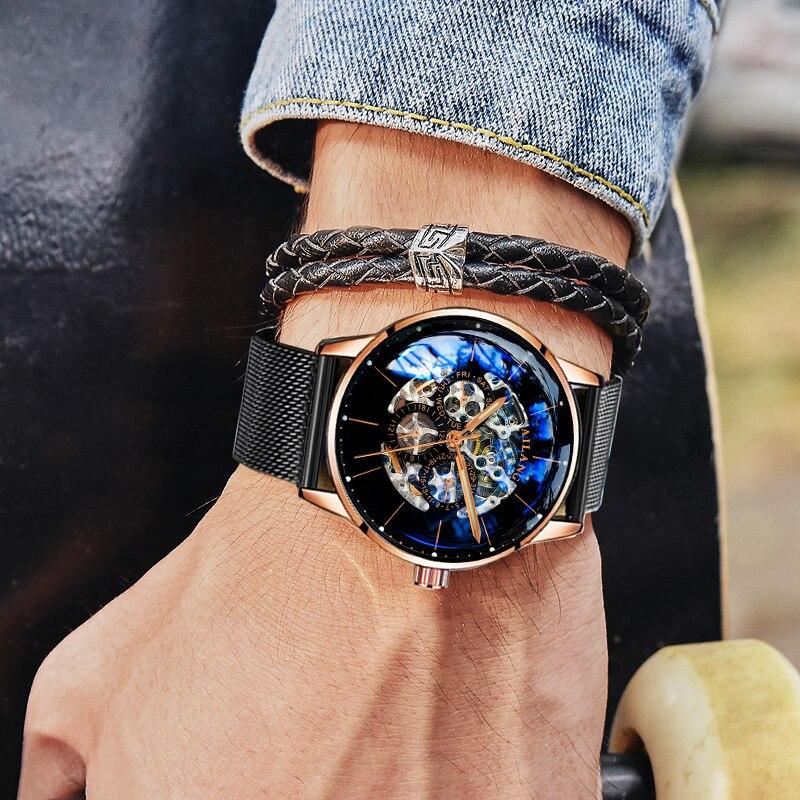 سويسرا ساعة أوتوماتيكية الرجال AILANG الهيكل العظمي الميكانيكية الرجال الساعات كامل الصلب الياقوت Relogio Masculino مقاوم للماء الأزرق