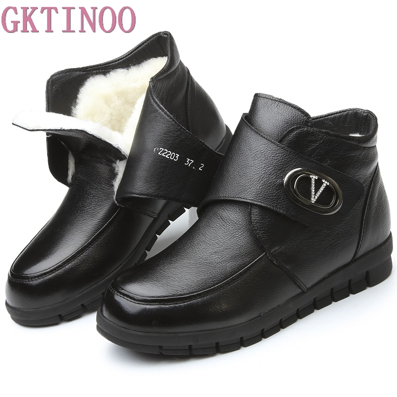 GKTINOO Women Boots Winter New Fashion Female Wool Warm Snow Boots Woman Genuine Leather Flat Ankle Boots Women Plus Size Shoes cocoafoal women s wool snow boots woman ankle boots silvery winter snow boots flat with platform wool snow boots genuine leather