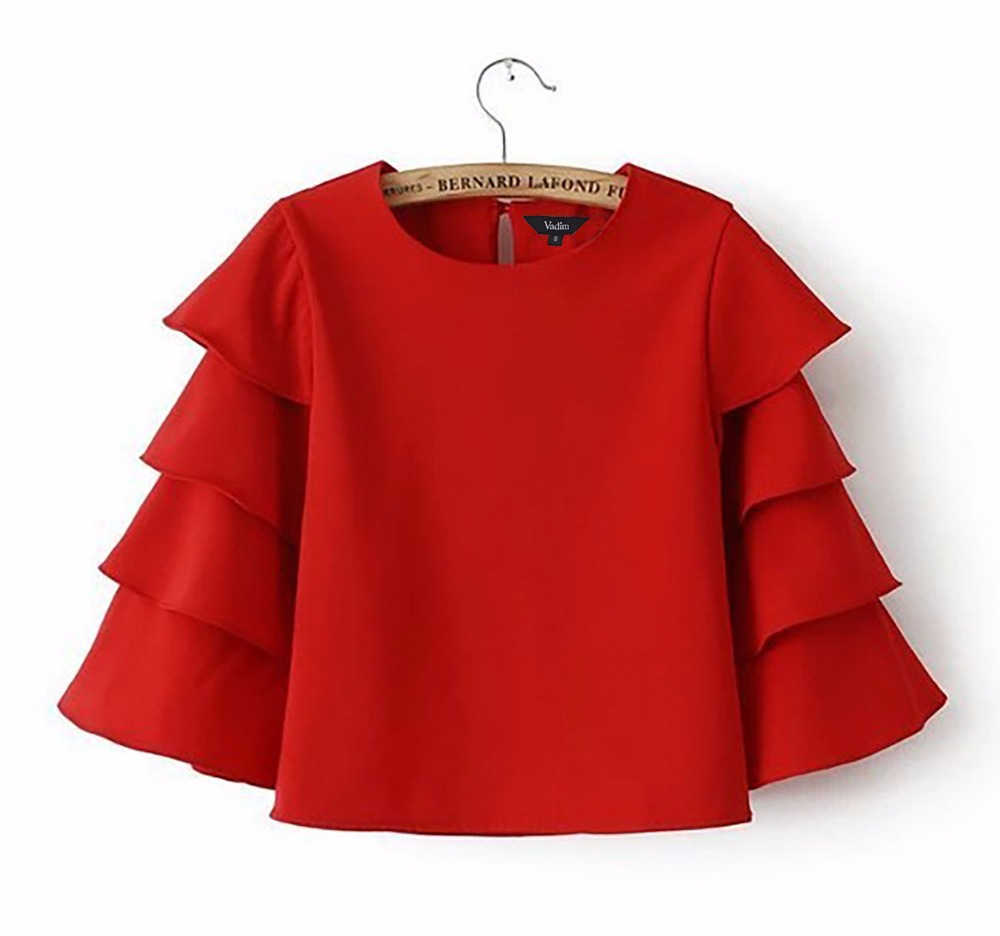 St1148 new fashion ladies 39 sweet ruffled sleeve crop for Tops shirts and blouses