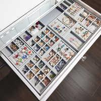 ANFEI 12 grids gray ring storage trays high quality grey velvet jewelry ring display storage tray display storage box A232-5