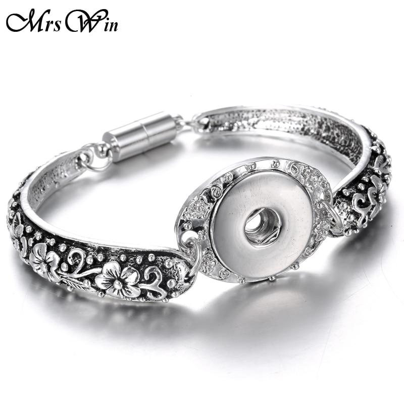 Nytt 18mm snäppsmycken metall silver knäppning armband armband blommor snidade magnetiska snäpp armband för kvinnor män armband
