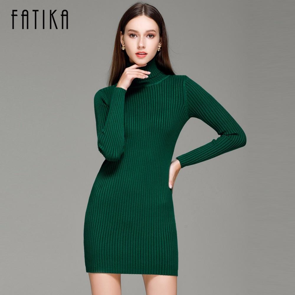 FATIKA Fashion 2017 Women Autumn Winter Sweater Dresses Slim Turtleneck Sexy Bodycon Solid Color Robe Knitted Dress