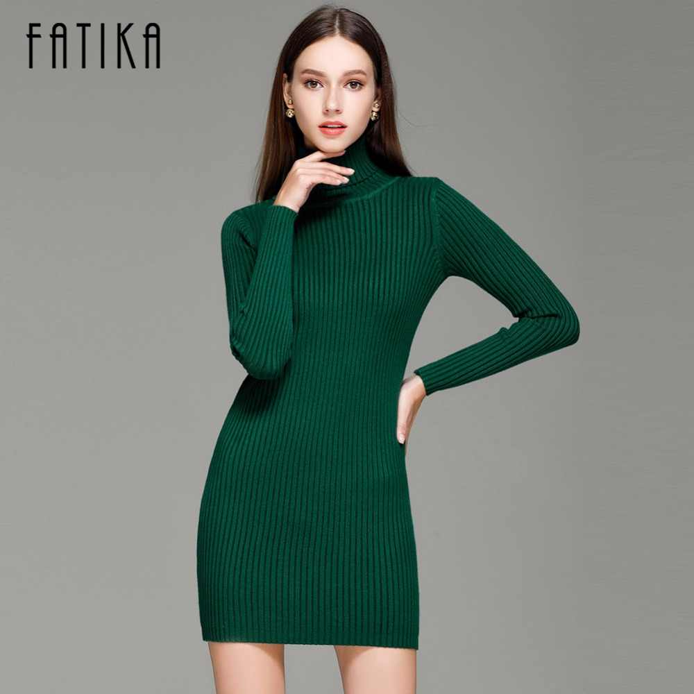 f650d4858b307 Detail Feedback Questions about FATIKA Fashion 2017 Women Autumn Winter  Sweater Dresses Slim Turtleneck Sexy Bodycon Solid Color Robe Knitted Dress  on ...