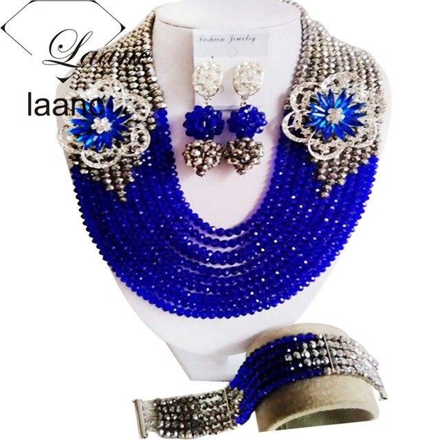עונה חדשה כסף וכחול רויאל קריסטל נשים שרשרת סט תכשיטי חרוזים אפריקאים חתונה ניגרית מסורתית ABF137