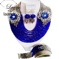 New Season Silver and Royal Blue Crystal Women Necklace Nigerian Traditional Wedding African Beads Jewelry Set ABF137