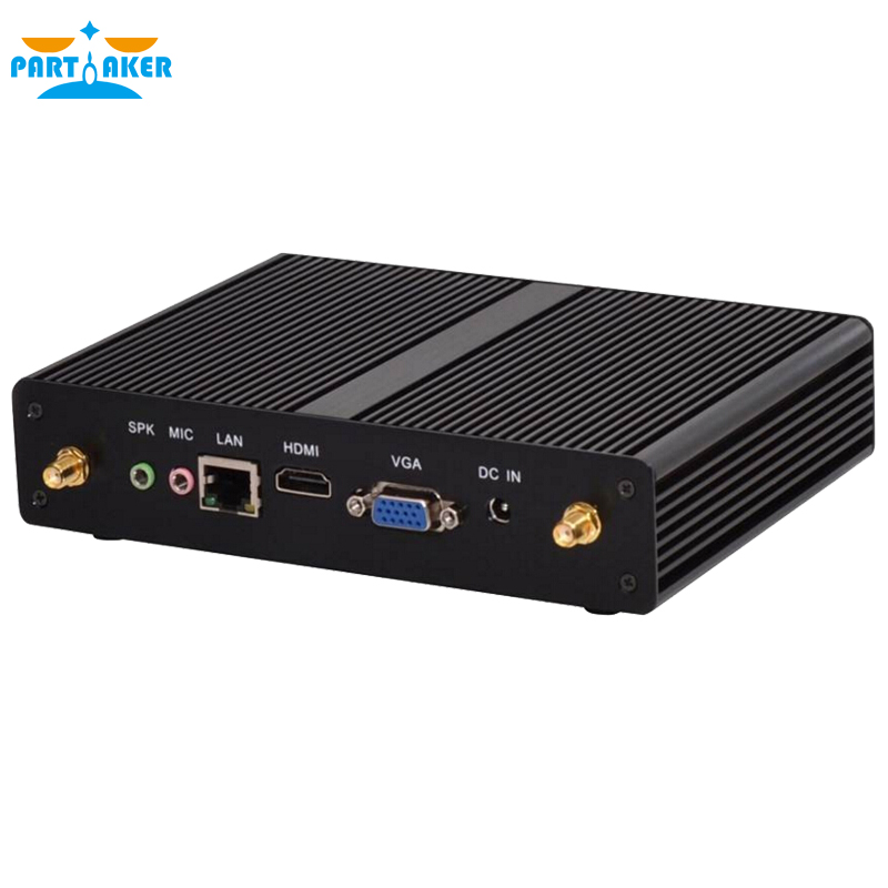 Partaker Fanless Mini PC with Haswell Intel CPU 2955u Pentium 3556u Processor Barebone VGA HDMI Desktop Computer Free Shipping