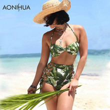 AONIHUA 2018 High Waist bandaged Bikini set Women Beach Resort green Swimwear Summer Push Up Halter Swimsuit Bathing Suit 2145