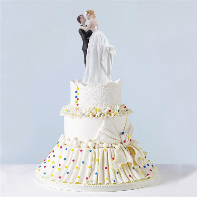 Romantic Figurine Bride Groom Hug For Wedding Cake Toppers