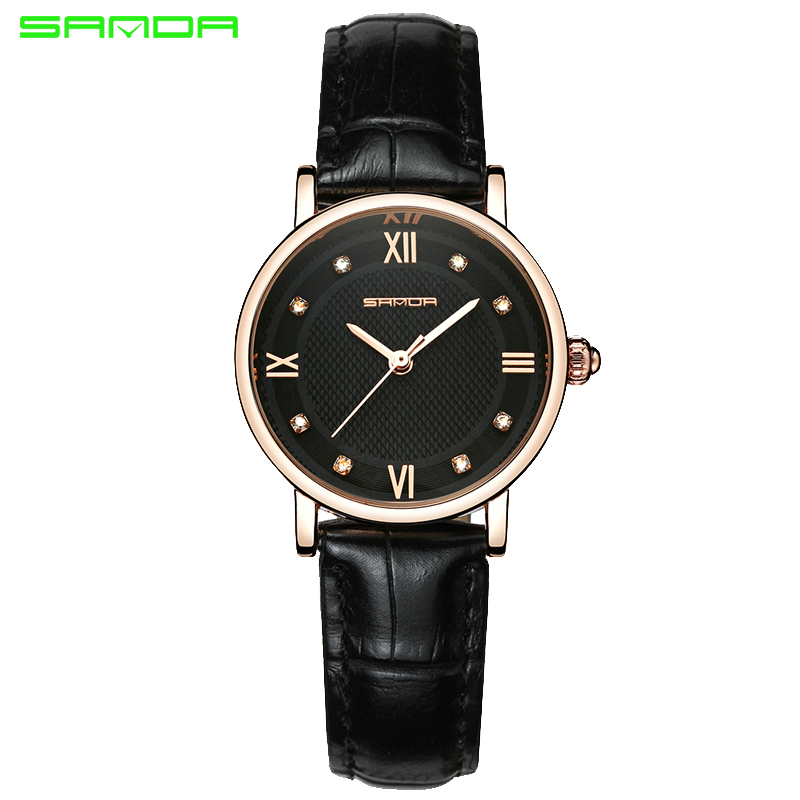 SANDA Brand Fashion Leather Bracelet Watches Women Diamond Elegant Dress Wrist watch Geneva Casual Gold Ladies Clock 2017 Saat