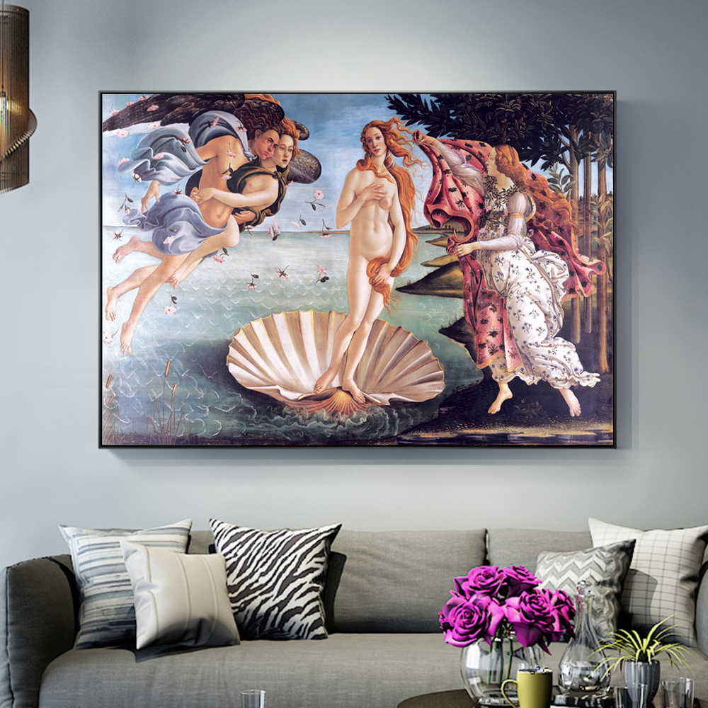 Birth Of Venus Canvas Paintings Reproduction On The Wall Classical Famous Wall Art Canvas Pictures By Botticelli For Living Room