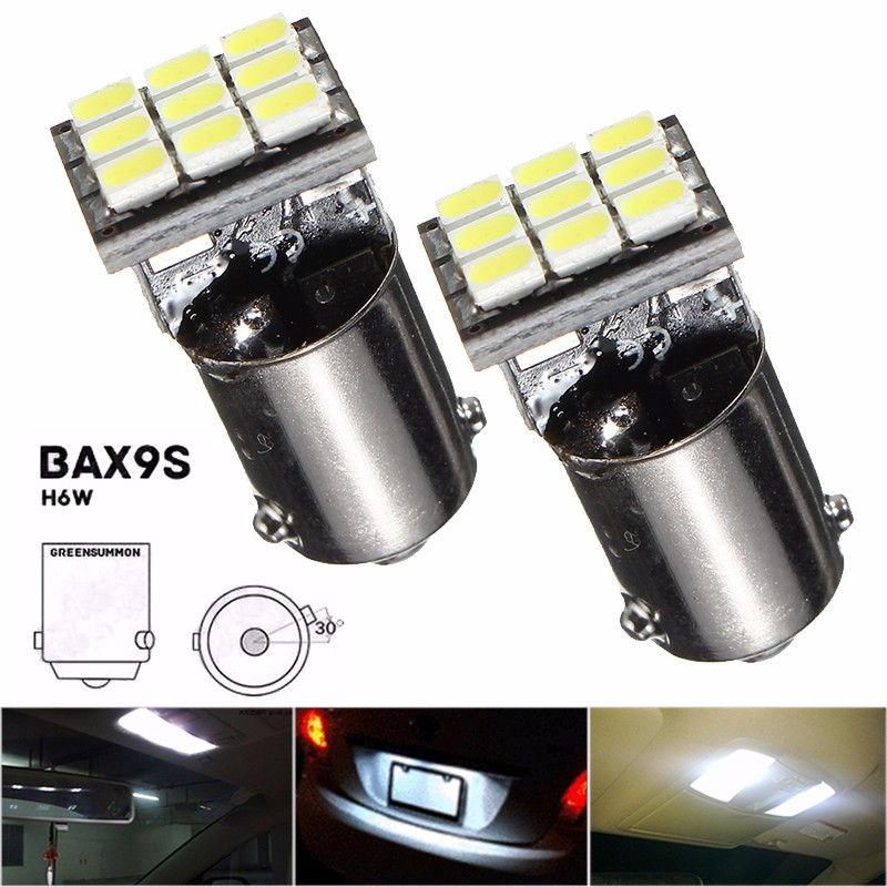 BAX9S H6W 1206 SMD 9 LED Light Bulb For Car License Plate Map Door Lamp Light DC12V Pure White 6000K Car Styling 3156 12w 600lm osram 4 smd 7060 led white light car bulb dc 12v