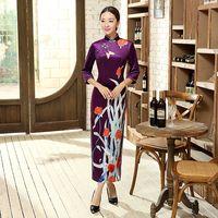 Elegant Floral Chinese Style Women Velvet Long Dress Vintage Print Cheongsam Qipao Spring Autumn Dress S