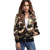 2018 Fashion Bomber Jacket Women Casual Camouflage Jacket Female Coats Long Sleeve Comfortable Windbreaker Thin Slim Outerwear