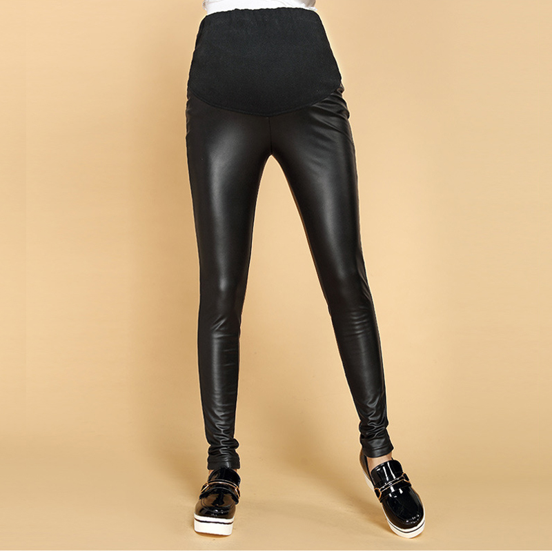Winter Thick Maternity Pants PU Leather Leggings Clothes For Pregnant Women Warm Pregnancy Female GH210