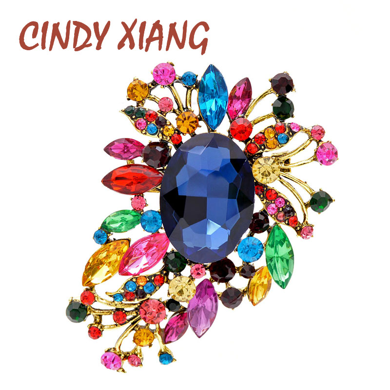 CINDY XIANG Multi-color Crystal Flower Large Brooches For Women Vintage Wedding Bouquet Brooch Pin Fashion Jewelry Coat Bag