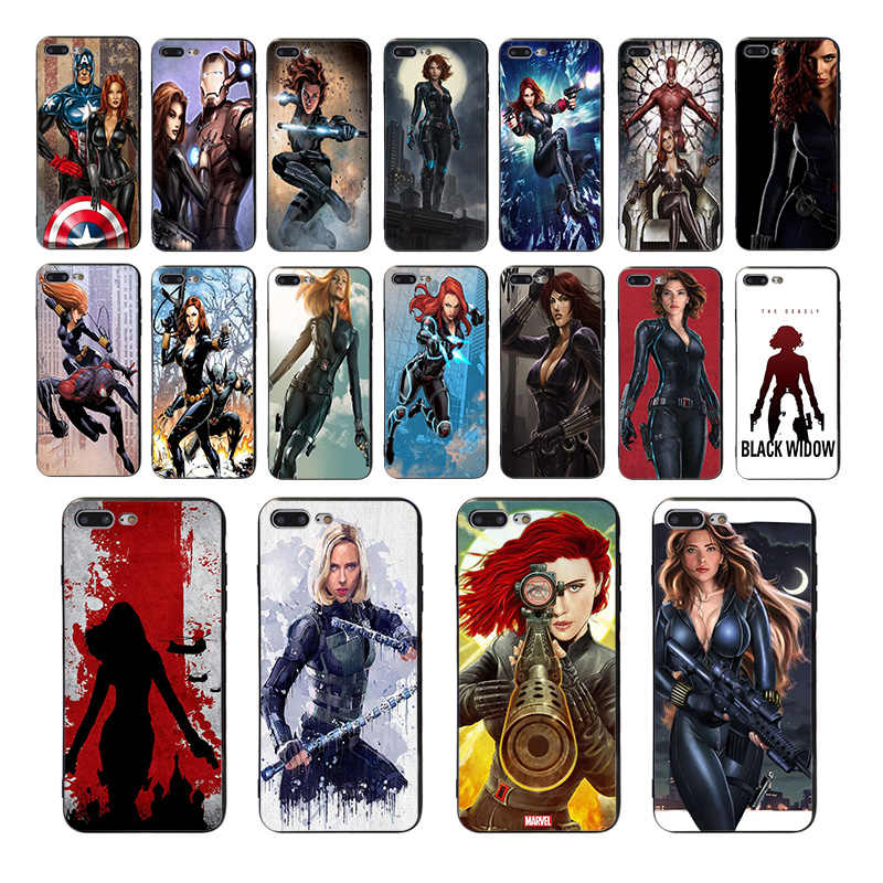 Fundas blandas de silicona para teléfono móvil Marvel Black Widow para iphone 7 8 6 6s plus x xs xr xsmax 5 5S funda de TPU