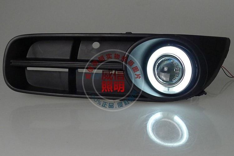 eOsuns CCFL ангел глаз LED дневного света DRL + галогеновые Противотуманные фары + объектив проектора для Шкода Фабия 2010-12