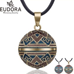 EUDORA Harmony Ball Necklace Vintage Chime Bola Pendant for Women Fashion Jewelry Gift Mexican Pregnancy Ball 45'' Chain 3 Style