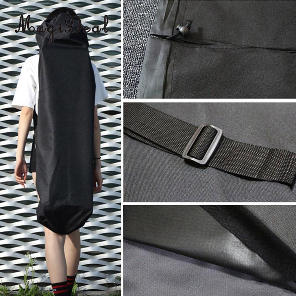 118x40cm Black Portable Waterproof Longboard Backpack Skateboard Carry Bag With Adjustable Shoulder Strap
