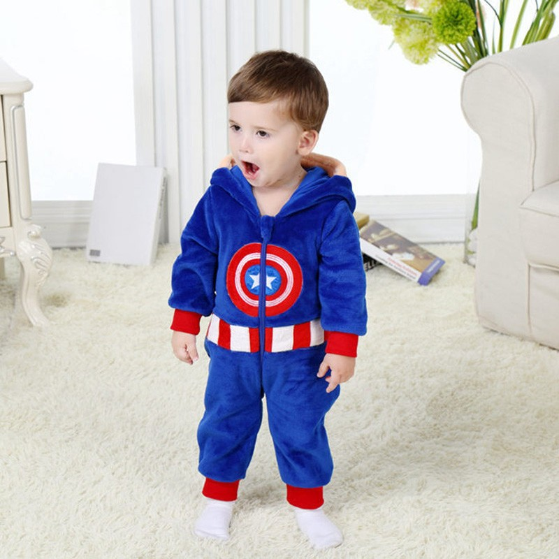 Spring and autumn baby boy clothes spiderman Captain America baby boy rompers Red Blue newborn clothes bodysuit one piece bebe (14)