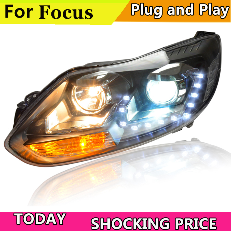 doxa Car Styling For Ford Focus headlights Year 2012 2013 2014 For Ford Focus LED Headlight Q5 bi xenon lens Lowbeam Headlamp-in Car Light Assembly from Automobiles & Motorcycles    1