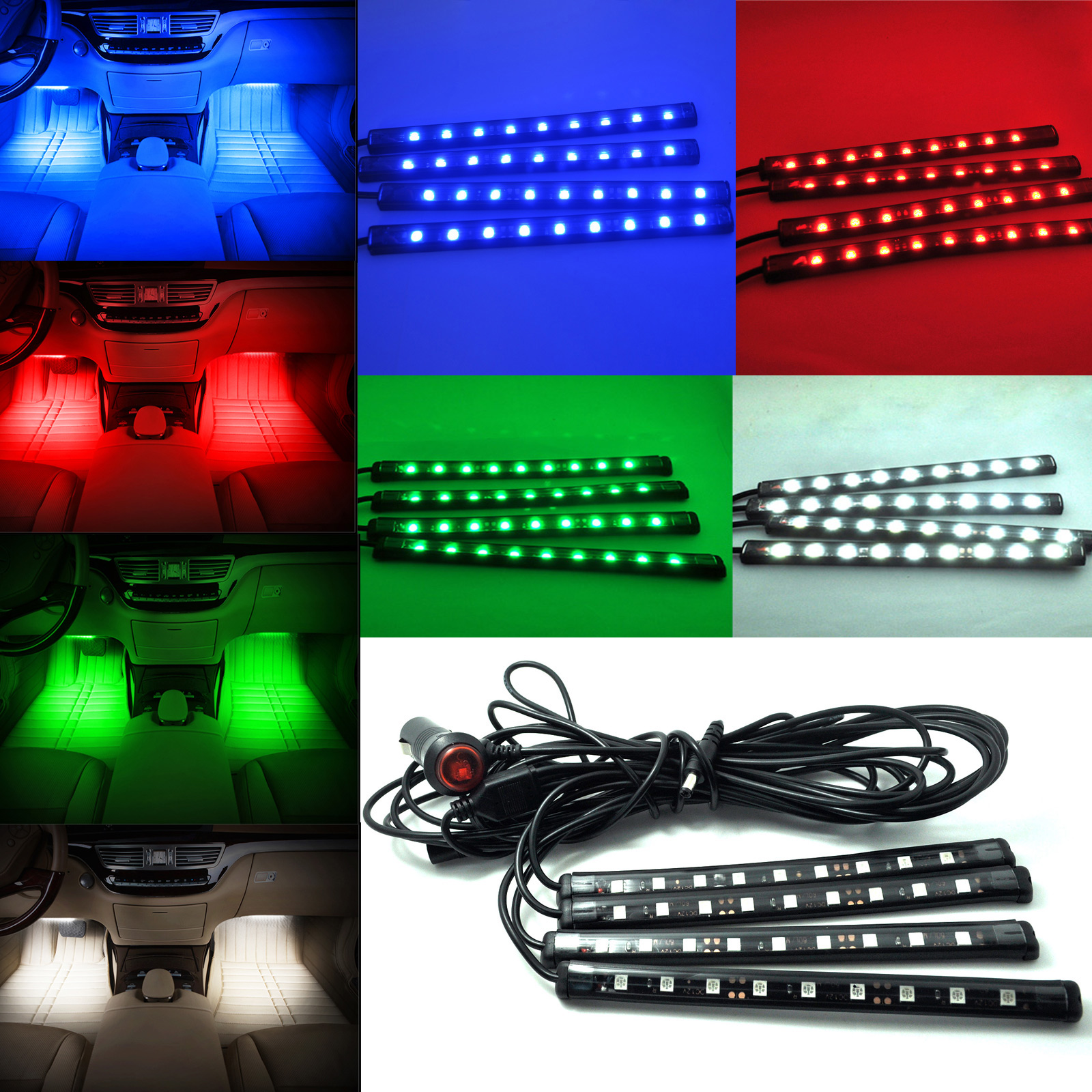 1set ultra blue white red green 5050 car led strip interior underdash floor atmosphere light kit. Black Bedroom Furniture Sets. Home Design Ideas
