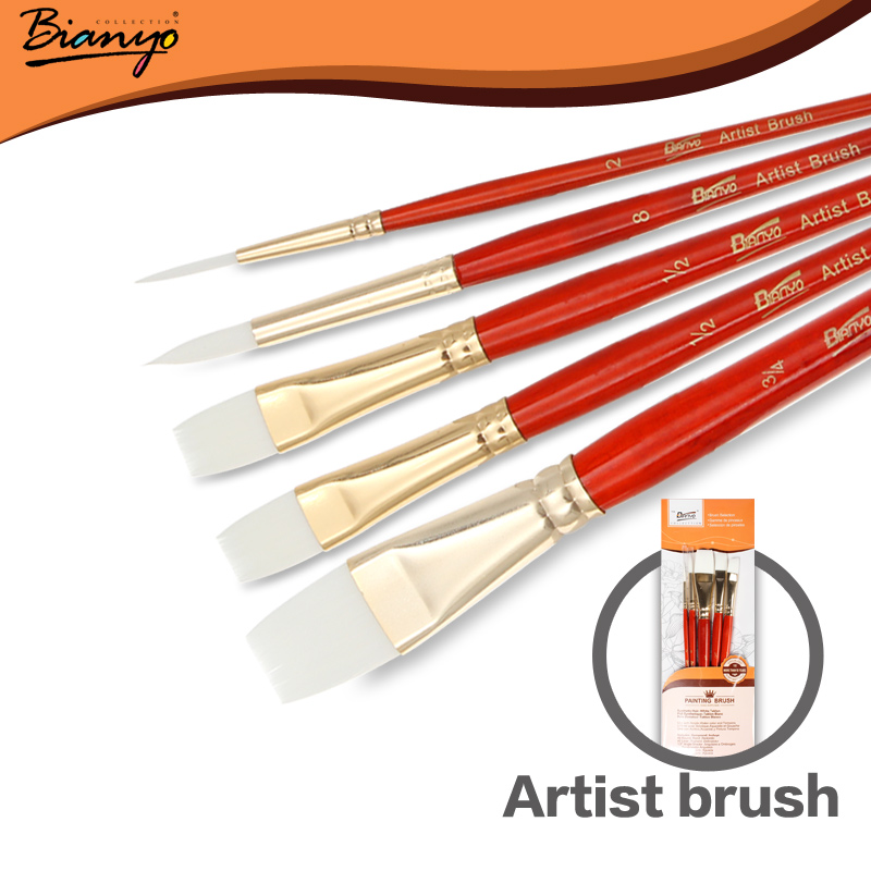 Bianyo 5Pcs High Quality Artist Bristle Hair Watercolor Paint Brush Set For Acrylic Gouache Drawing Painting Brush Art Supplies