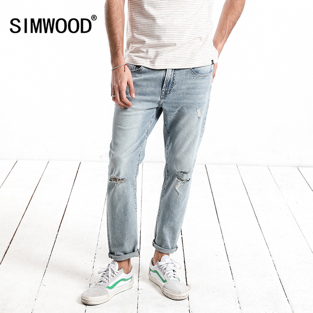 SIMWOOD 2018  Summer New Jeans Men ripped Ankle-Length Fashion Hole hip hop Denim Trousers Slim Fit Streetwear Plus Size 180116