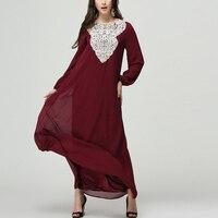 Czerwony Zielony Czarny Kwiat Koronki Elegancki Długi Rękaw Szaty Plus Rozmiar Szyfonu Kobiety Sukienka Casual Solidna Sukienka Maxi Kobiety