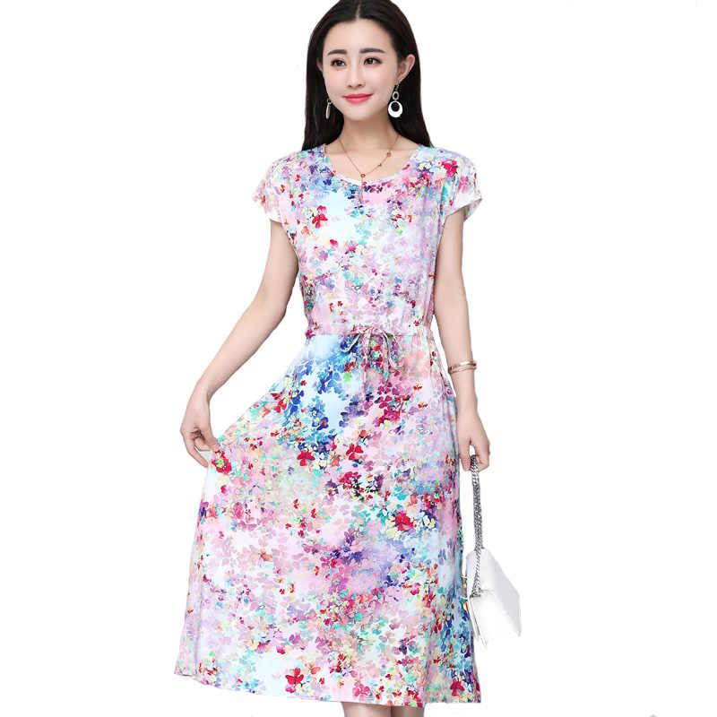 4f3a2903256 2018 г. Летние Стильные женские платья большие размеры повседневные с  круглым вырезом и принтом хлопок