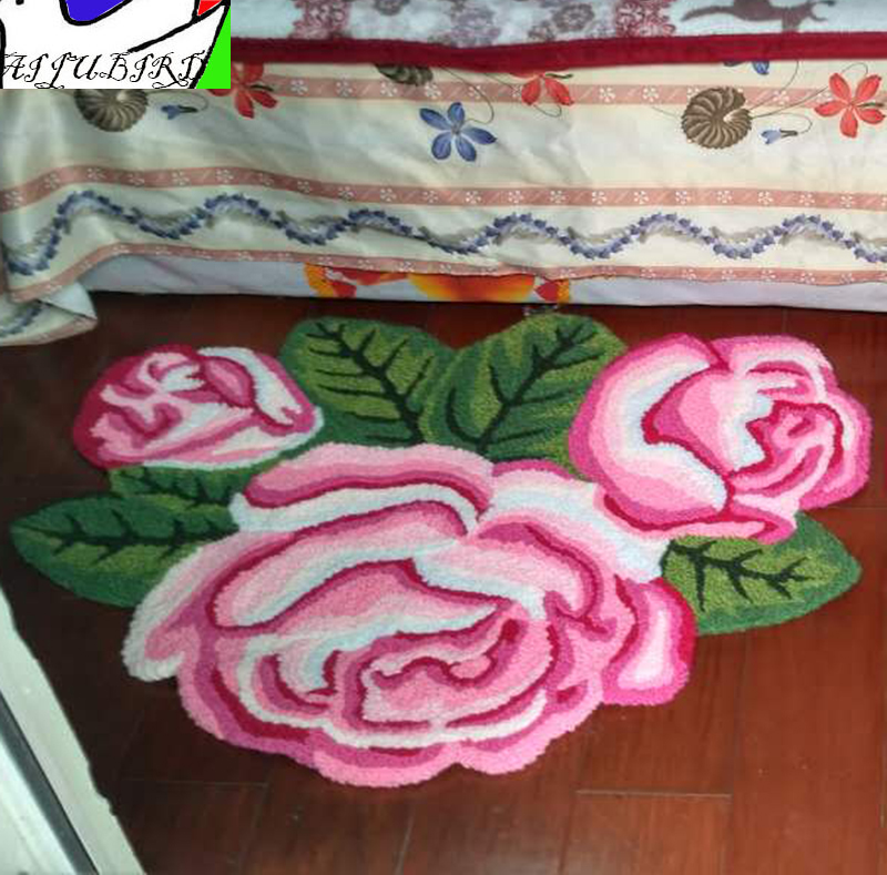 3 roses bridal room carpet rug, stair anti-slip floor mat, thick line flower small footpad, warm upholstery home mat