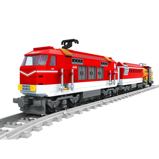 588 unids City Series Tren con Pistas Bloques de Construcción Del Ferrocarril Transporte Niños Ladrillos Modelo Juguetes brinquedos leping