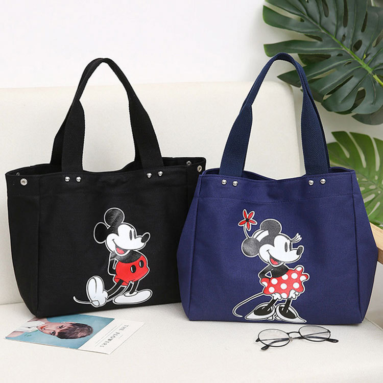 Disney Female Shoulder Bag Fashion Canvas Bag Mickey Mouse Lady Handbag Large Capacity Minnie Casual Shoulder Bag Shopping