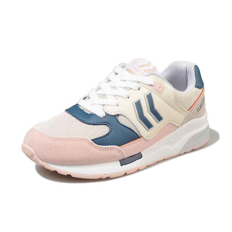 Appartements 35 Rayé De Chaussures bleu Respirant 40 Sneakers Bout Coolcept Casual Rond Taille Femme rose Femmes Quotidien Mode Noir Sw6tBt
