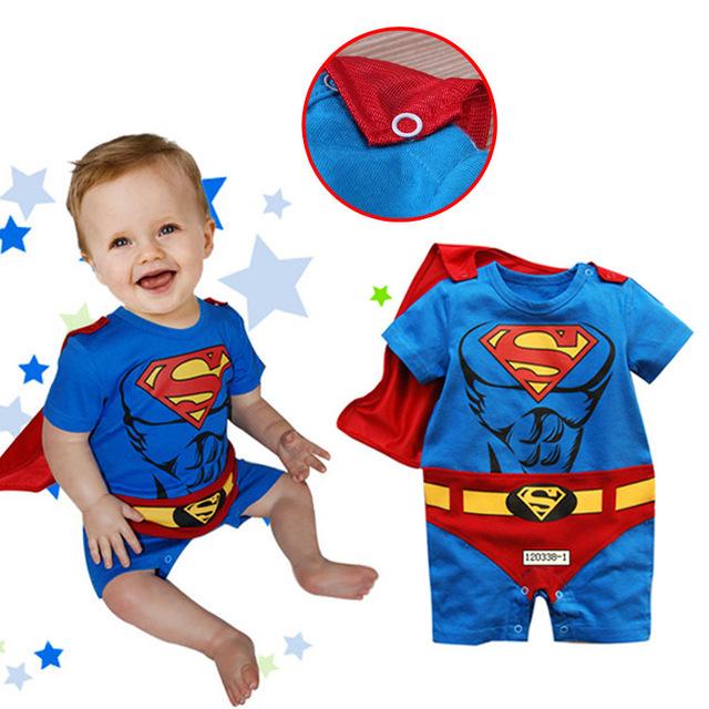 2015 bebé ropa Batman mono de algodón del bebé de los mamelucos del superhombre de manga corta para niños recién nacidos ropa de bebé