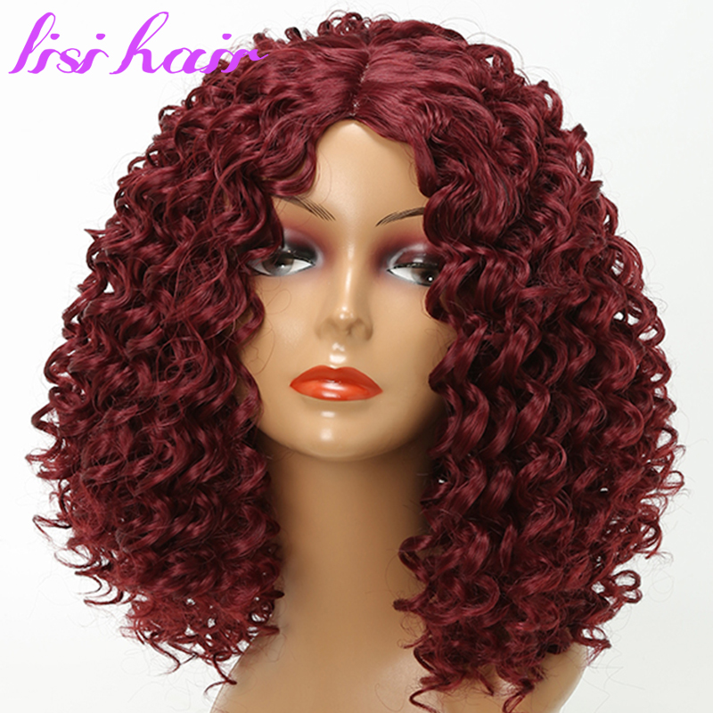 Lisi Hair Short Curly Hair Red Color Synthetic Wigs For Black Women African Women Hairstyle High Temperature Fiber