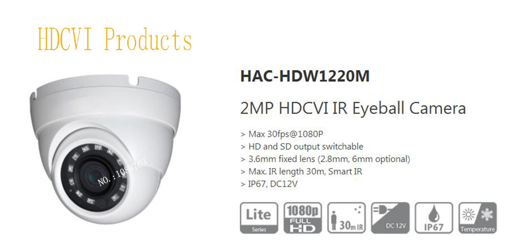все цены на Free Shipping Original English DAHUA Security Camera CCTV 2MP HDCVI Eyeball Digital Video Camera IP67 without Logo HAC-HDW1220M онлайн