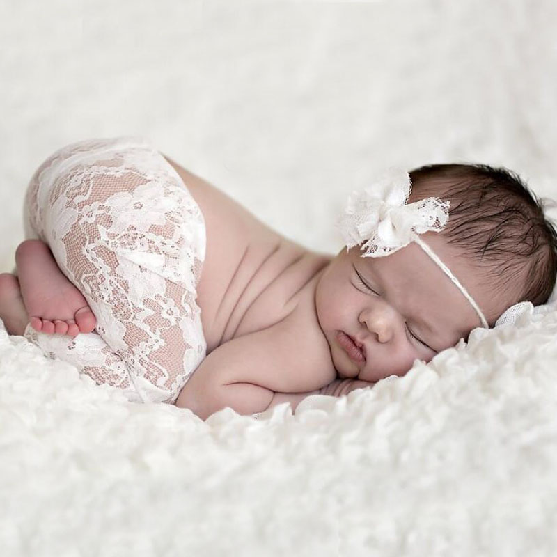 Bebé Encaje recién nacido Pantalones y arco equipo Encaje fotografía ...