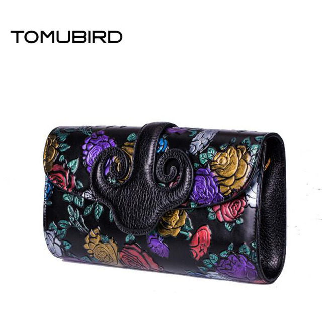 TOMUBIRD 2016 New women genuine leather bag fashion national wind hand embossing leather art bag women leather clutch bag