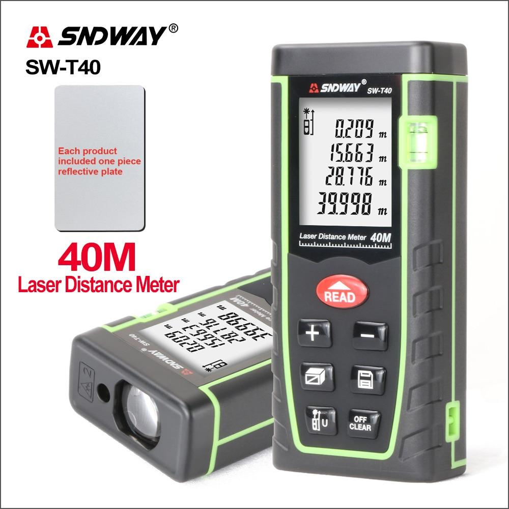 SNDWAY Laser-entfernungsmesser Abstand Meter Reichweite Mesurment Werkzeug Gerät Finder Mini Digital Meater Beschichtet Laser Abstand Sensor SW-T40