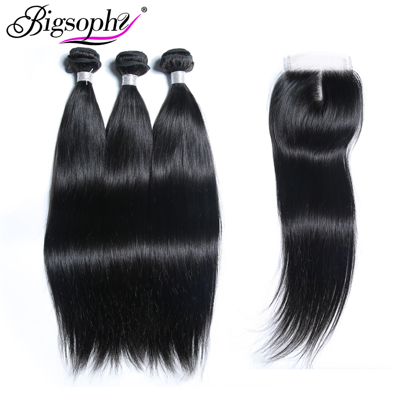 Bigsophy Mongolian Straight Hair Bundles Wave 100% Remy Human Hair Extension 3 Bundles Hair And Closure Middle/Free/Three Part
