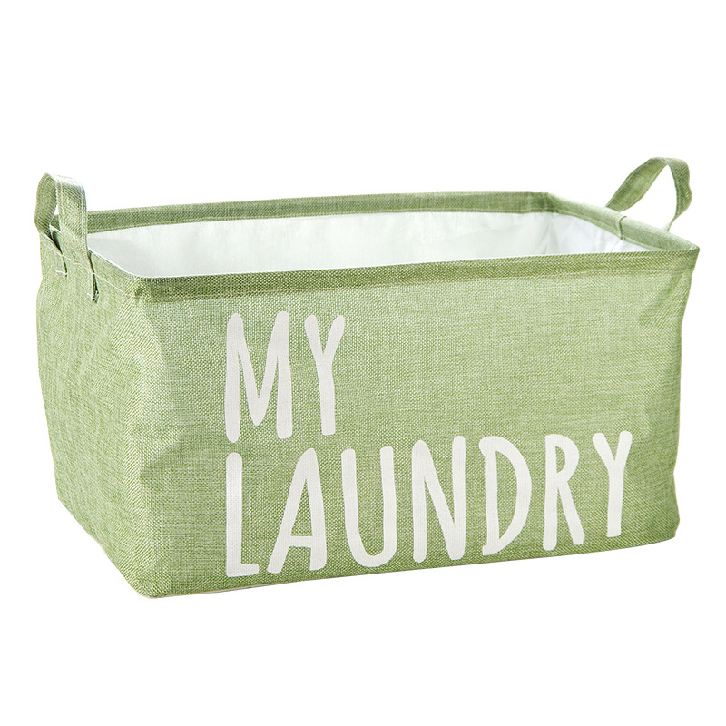 Foldable Waterproof Dustproof Fabric Laundry Basket Handle Laundry Bag For Dirty Clothes Home Sundries Storage Box 46x32x25cm