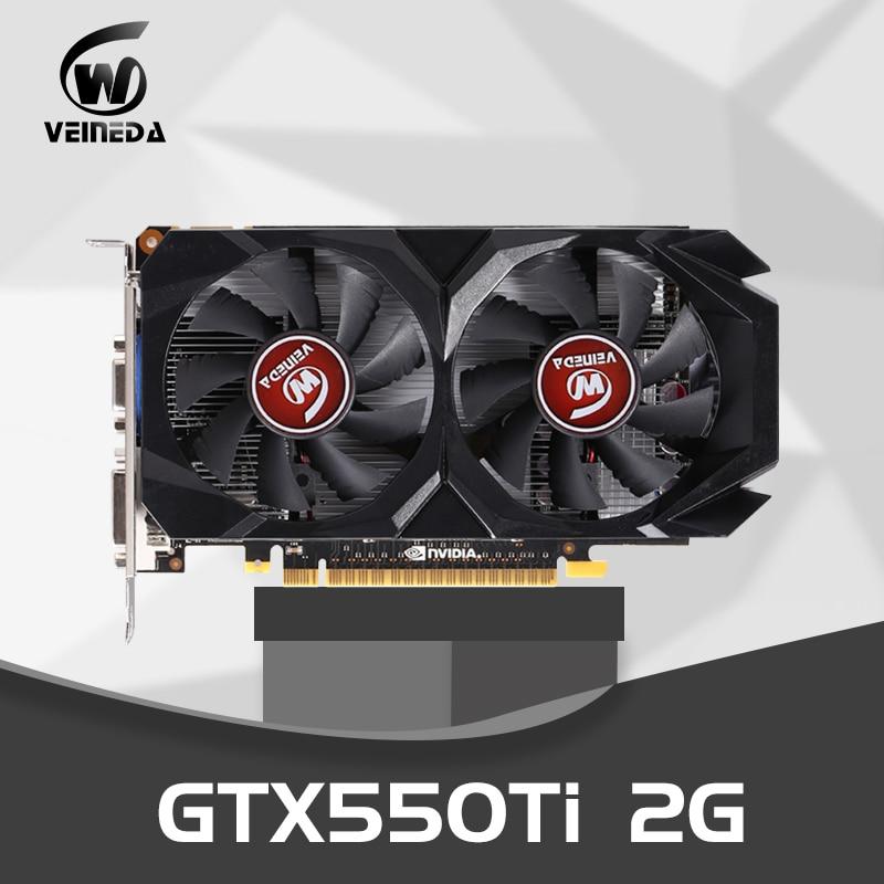 Carte graphique GTX 550 Ti 2 GB 128Bit GDDR5 cartes vidéo pour cartes nVIDIA Geforce GTX 550Ti VGAPlus fort que GTS450, GT730