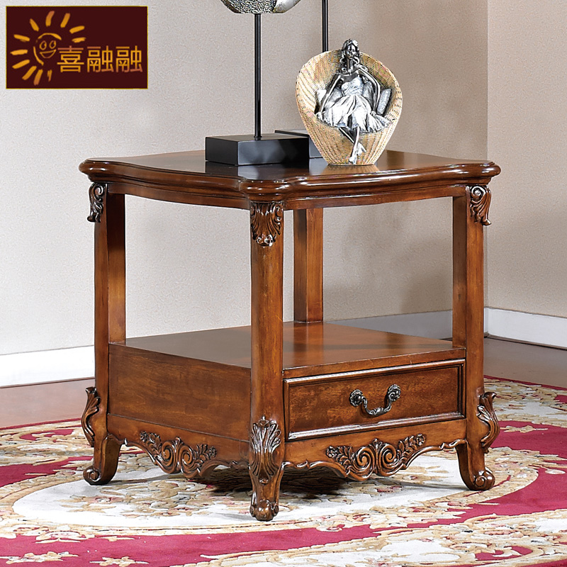 American wood side table a few lockers living room sofa - Corner tables for living room online ...