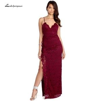 Lakshmigown Sexy Burgundy Mermaid Prom Dresses 2019 Bestidos de Gala Side Split Formal Long Lace Evening Gowns Wedding Party