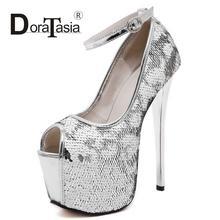 DoraTasia 2016เซ็กซี่ผู้หญิงG Litterปั๊มแฟชั่นบางพรรคส้นสูงรองเท้าแต่งงานผู้หญิงP Eep Toeปั๊มแพลตฟอร์ม